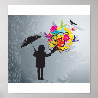 Blühen im Regen-Druck Posterdruck