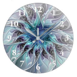 Blühen Sie abstrakte moderne Fraktal-Blume mit Große Wanduhr