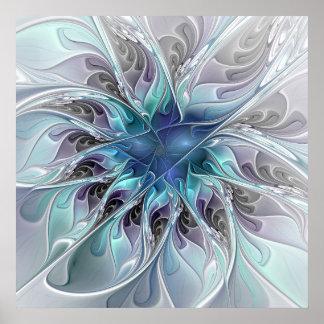 Blühen Sie abstrakte moderne Fraktal-Blume mit Poster