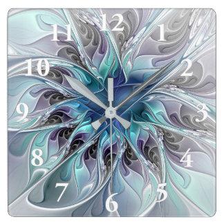 Blühen Sie abstrakte moderne Fraktal-Blume mit Quadratische Wanduhr