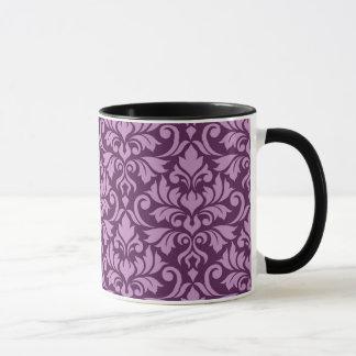Blühen Sie Damast-Fahrwerk-Muster-Rosa auf Pflaume Tasse