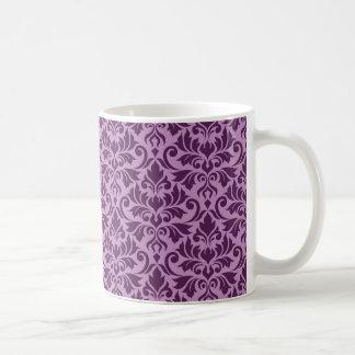 Blühen Sie Damast-große Muster-Pflaume auf Rosa Kaffeetasse