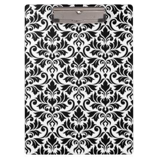 Blühen Sie Damast-großes Muster-Schwarzes auf Weiß Klemmbrett