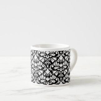 Blühen Sie Damast-großes Muster-Weiß auf Schwarzem Espressotasse