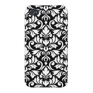 Blühen Sie Damast-großes Muster-Weiß auf Schwarzem iPhone 4 Cover