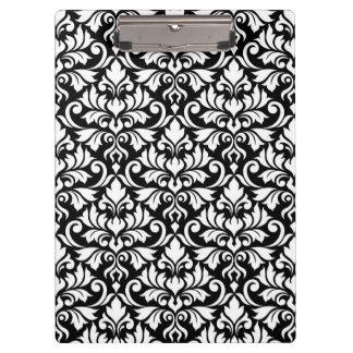 Blühen Sie Damast-großes Muster-Weiß auf Schwarzem Klemmbrett