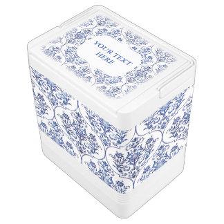 Blühen Sie Damast-Muster - Blau Kühlbox