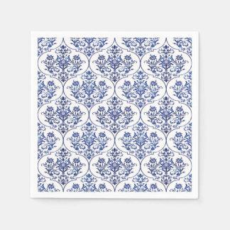 Blühen Sie Damast-Muster - Blau Serviette