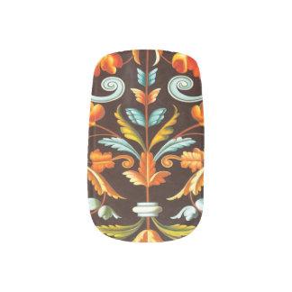 blühen Sie gelb-orangeen Herbst-Herbstlaub des Minx Nagelkunst