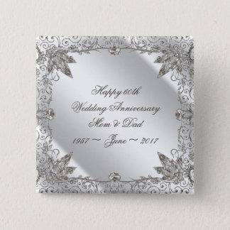 Blühen Sie Hochzeits-Jahrestags-Knopf des Quadratischer Button 5,1 Cm