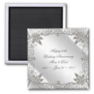 Blühen Sie Hochzeits-Jahrestags-Magneten des Quadratischer Magnet