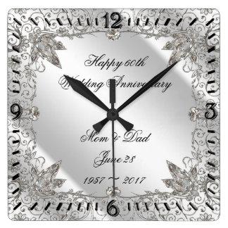 Blühen Sie Hochzeits-Jahrestags-Uhr des Quadratische Wanduhr