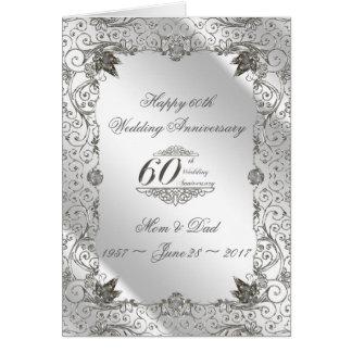 Blühen Sie Jahrestags-Gruß-Karte des Diamant-60. Karte