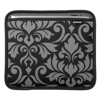 Blühen Sie Kunst I des Damast-2Way grau u. schwarz iPad Sleeve