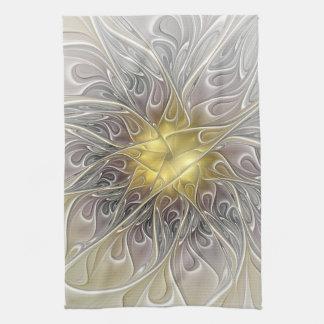 Blühen Sie mit Goldmoderner abstrakter Küchentuch