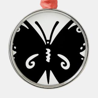 Blühen Sie Schmetterlings-Silhouette Silbernes Ornament