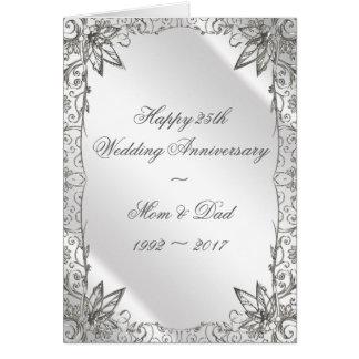 Blühen Sie Silber-25. Hochzeits-Jahrestags-Karte Karte