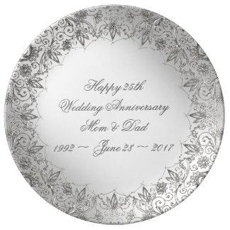 Blühen Sie Silber-25. Jahrestags-Porzellan-Platte Porzellanteller
