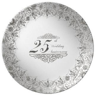 Blühen Sie Silber-25. Jahrestags-Porzellan-Platte Teller