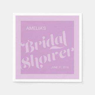 Blühen Sie Typografie-Lavendel-Flieder-Brautparty Serviette