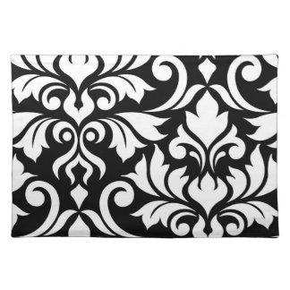 Blühen Sie Weiß der Damast-Kunst-I auf Schwarzem Tischset