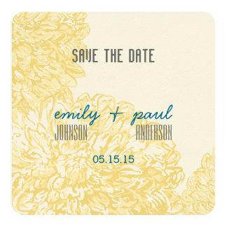 Blühende Dahlie-gelbe Iris-Hochzeit Karte