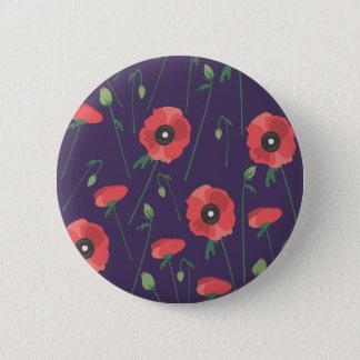 Blühende Frühjahr-Mohnblumen lila Runder Button 5,7 Cm