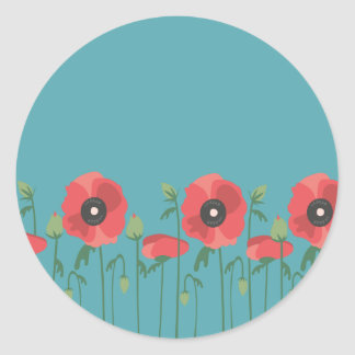 Blühende Frühjahr-Mohnblumen Runder Aufkleber