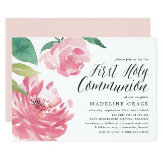 Blühende heilige Kommunions-Einladung der Karte