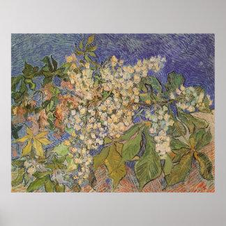 Blühende Kastanien-Niederlassungen durch Vincent Poster