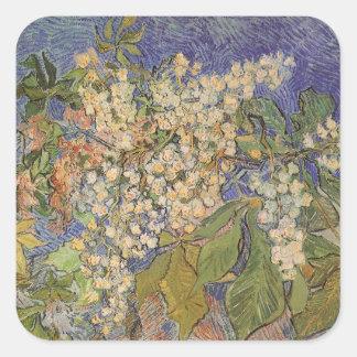 Blühende Kastanien-Niederlassungen durch Vincent Quadratischer Aufkleber