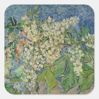 Blühende Kastanien-Niederlassungen Vincent van Quadratischer Aufkleber