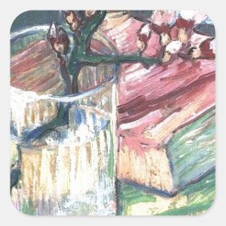 Blühende Mandel verzweigen sich in ein Glas und in Quadratischer Aufkleber