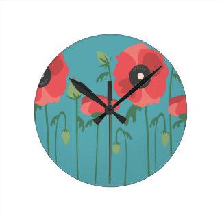 Blühende Mohnblumen-Feld-Uhr Runde Wanduhr