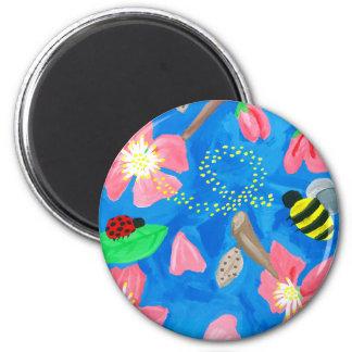 Blühende Schönheit Runder Magnet 5,7 Cm