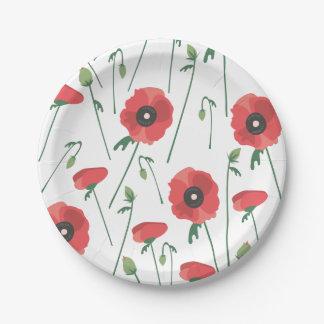 Blühender Mohnblumen-Feld-Druck Pappteller