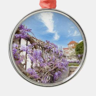 Blühendes blaues Glyzinien sinensis auf Zaun in Silbernes Ornament