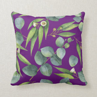 Blühendes Eukalyptus-Laub-Muster-Veilchen Kissen