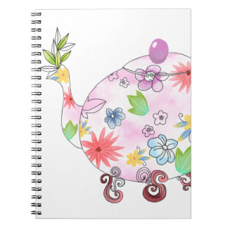 Blühendes Tee-Topf-Illustrations-Zeichnen Notizblock