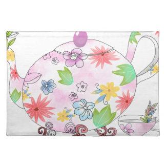 Blühendes Tee-Topf-Illustrations-Zeichnen Stofftischset