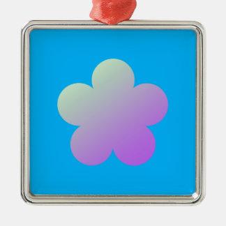Blume auf einem blauen Hintergrund Silbernes Ornament