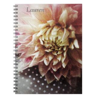 Blume auf Schwarzweiss-Polkapunktnotizbuch Spiral Notizblock
