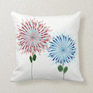 Blume birst, Marine, Hochrot, das Aqua (zurück Kissen