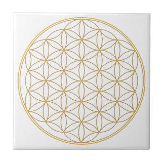 Blume der Leben-Goldlinie Keramikfliese