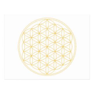 Blume der Leben-Goldlinie Postkarte