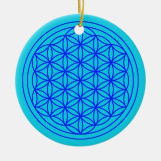Blume der Lebenmandala-Blau-Verzierung Keramik Ornament