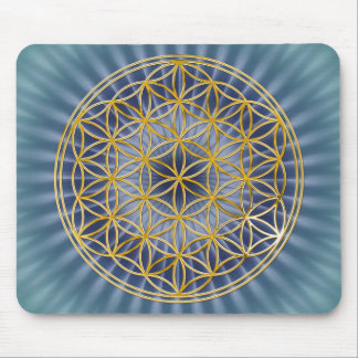 Blume des Goldes des Lebens |, groß, blau Mauspad