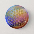 Blume des Goldes des Lebens |, klein Runder Button 5,7 Cm