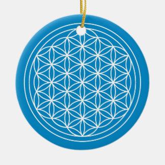 Blume des Leben-Blau-Kreises Keramik Ornament