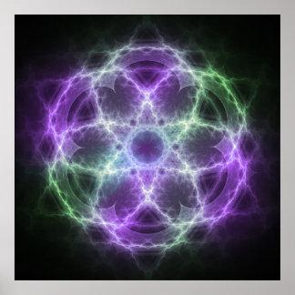Blume des Leben-Fraktals - heilige Geometrie Poster
